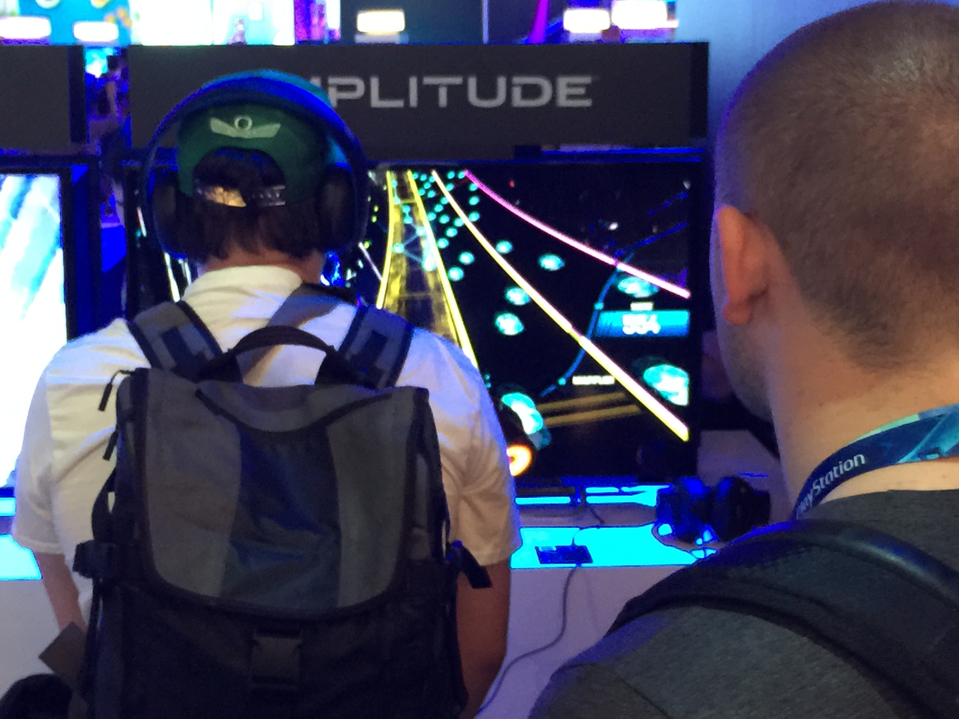 Fans playing Amplitude at E3