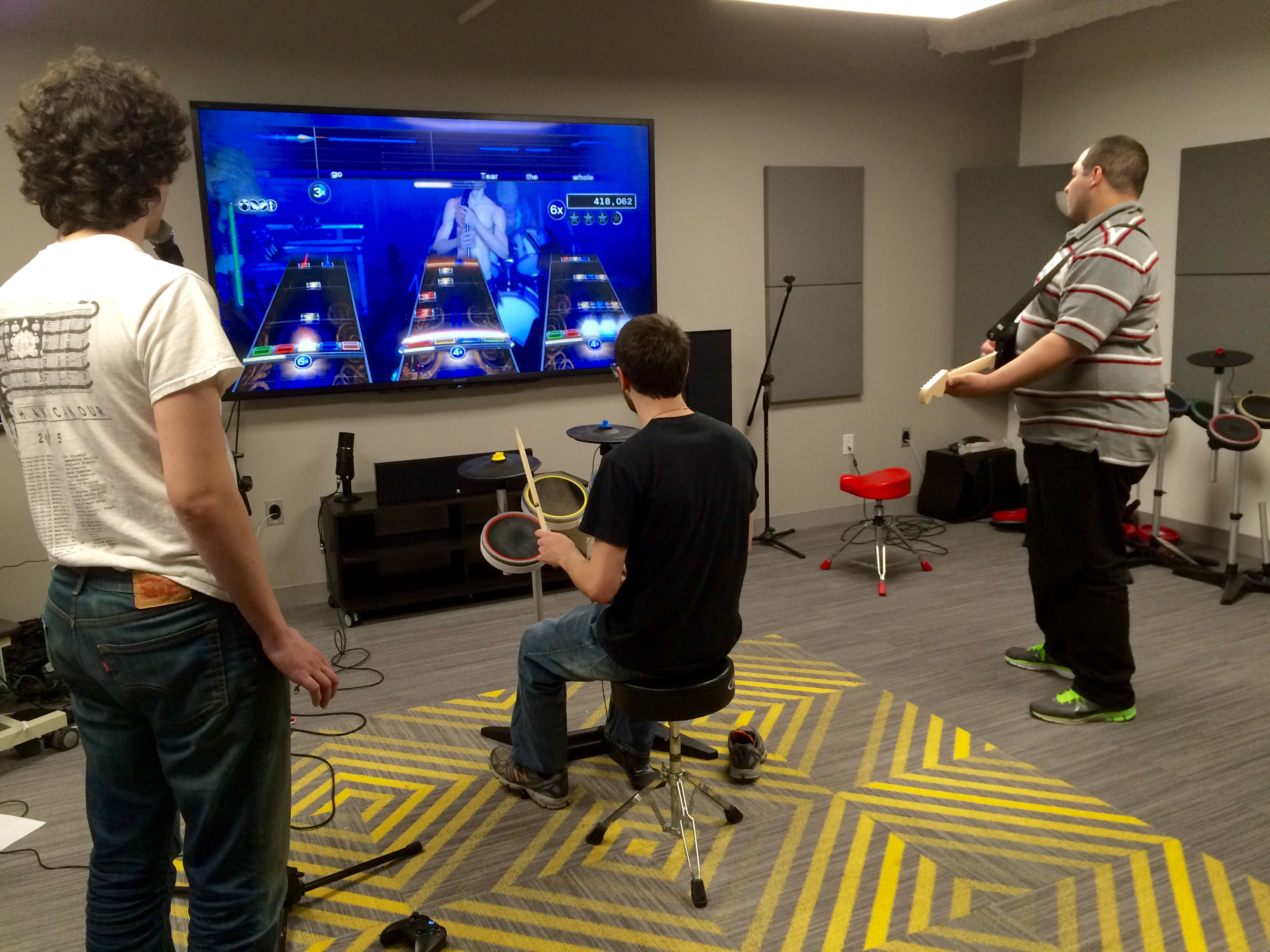 Getting the band together for a play session of Rock Band 4!