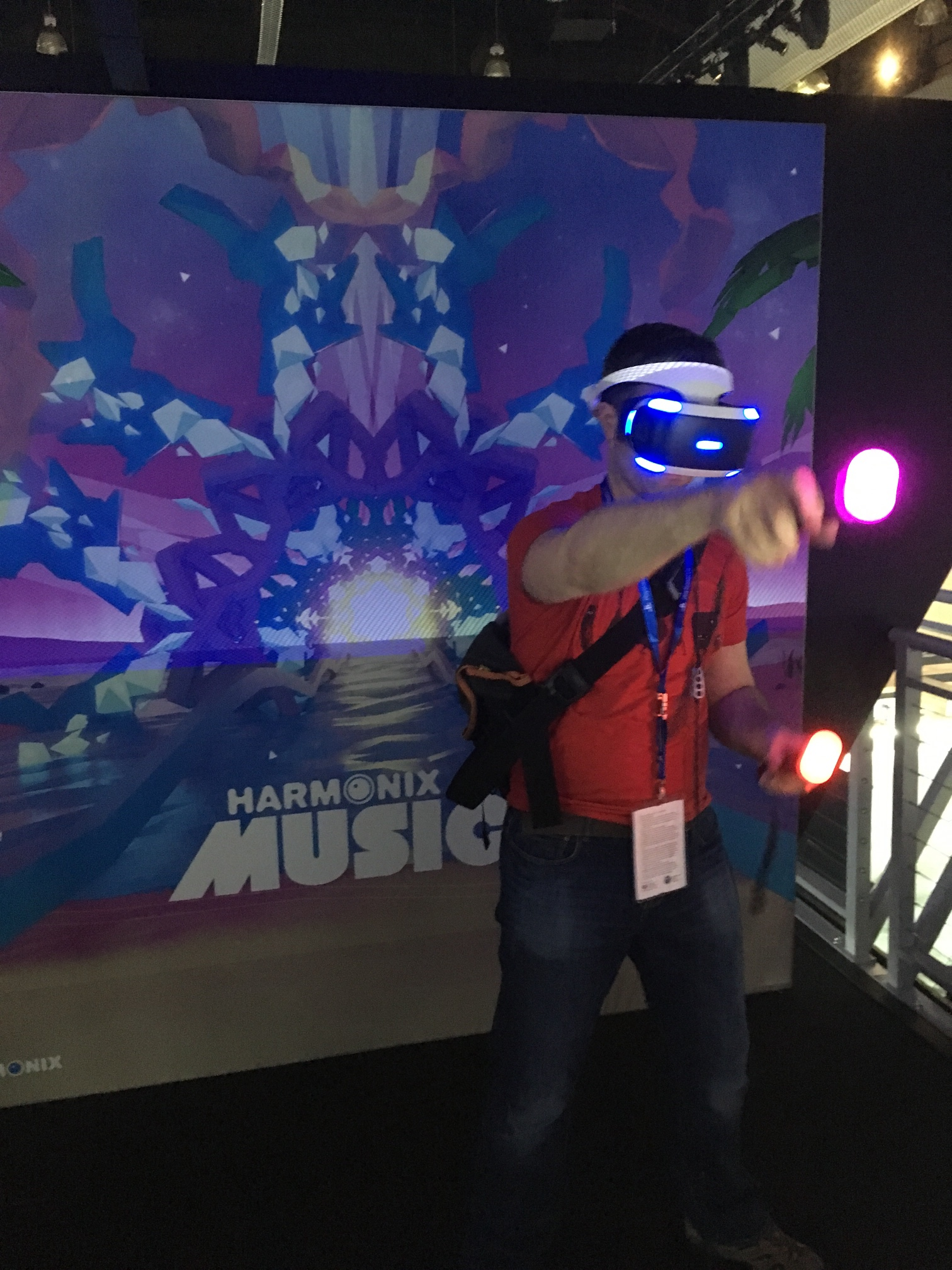 Chris testing out Harmonix Music VR!