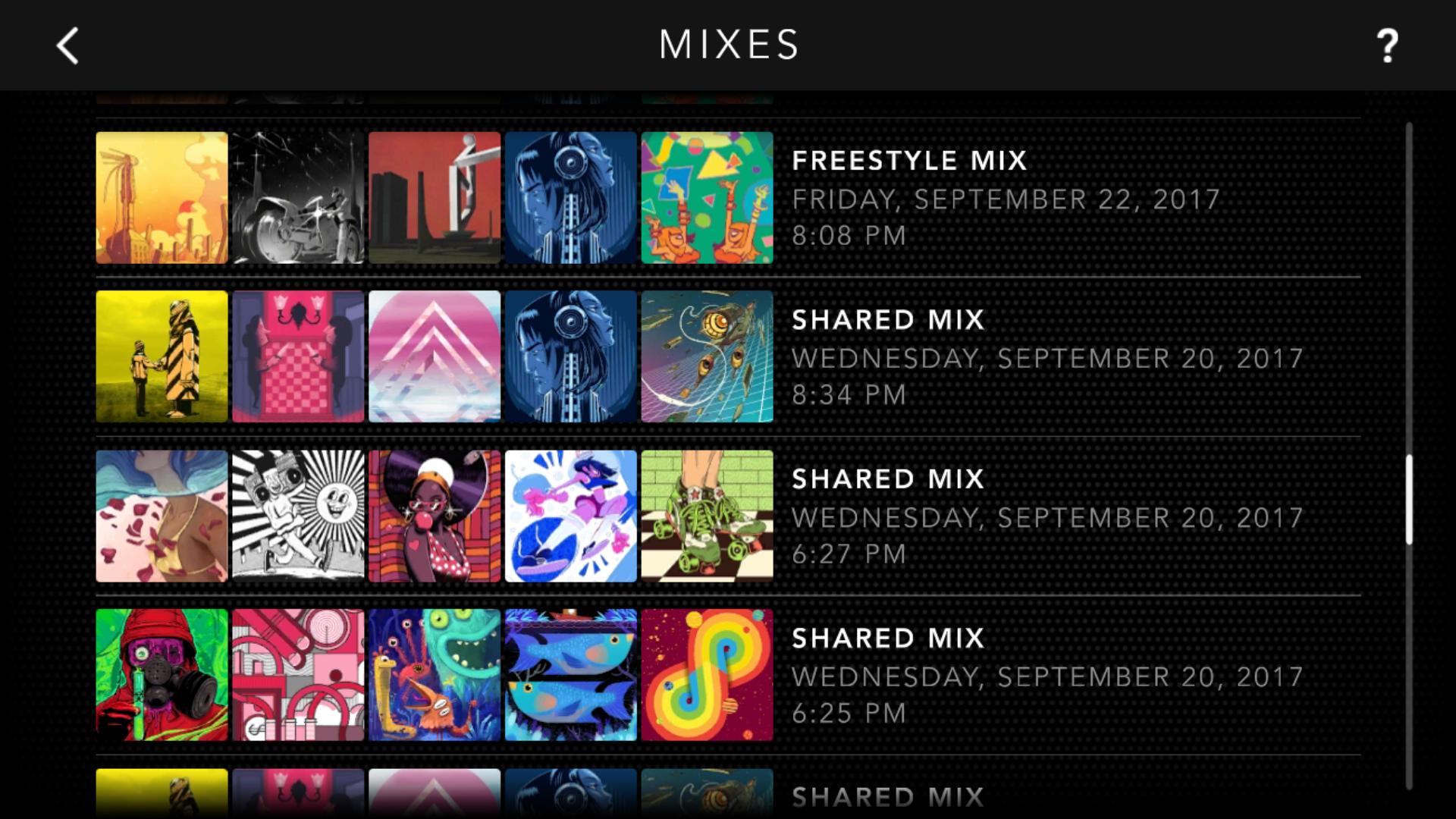 Saved Mixes