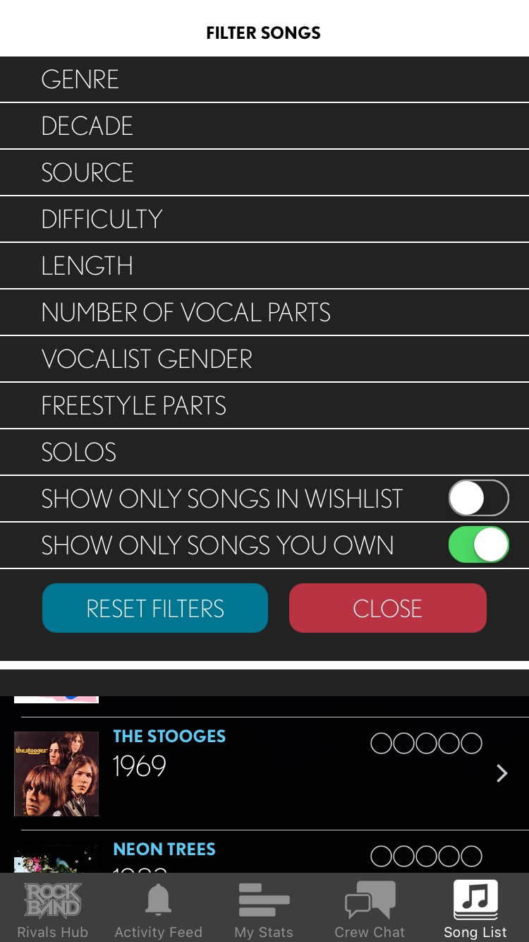 Song Filters